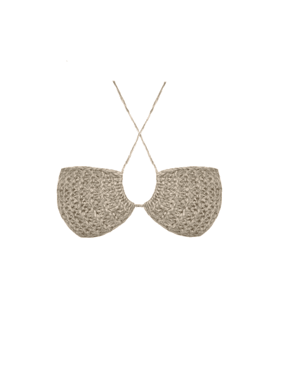 Knitted Bralette Top, Beige