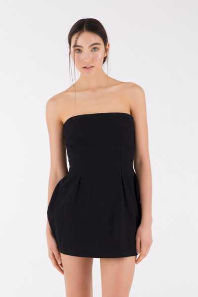 Cupped Bustier Dress, Black